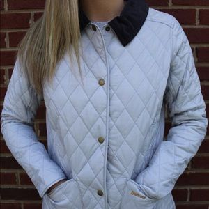 Barbour Annandale Quilter Puffer Coat Light Blue.